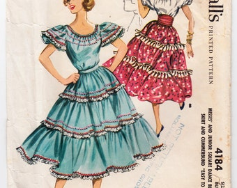 """Vintage Sewing Pattern 1950's Ladies' Square Dance Blouse & Skirt Bust 33"""" McCall's 4184- With FREE Pattern Grading E-book"""