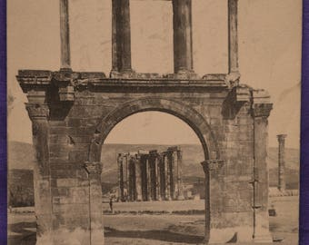 Athens Greece Arch of Hadrian Temple of Zeus Black and White Early 20th Century Postcard