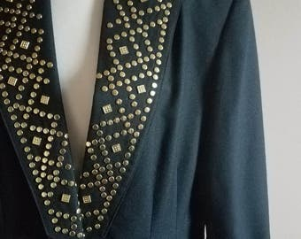 Black and Gold Studded 80s Blazer