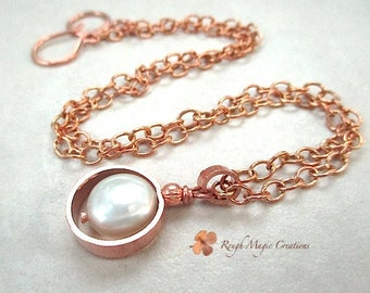 Pearl Pendant Necklace, Hand Forged Copper Jewelry Gift for Women Adjustable Chain Present for my Bride Bridal Wedding Necklace Gift for Her