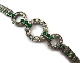 Art Deco Jewelry Bracelet - Vintage Rhinestone Bridal, Sterling Silver Clear and Green Stones, Leach & Miller