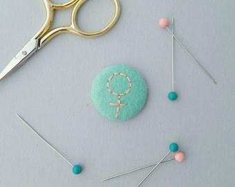 Mint and peach felt feminist badge - woman symbol - galentines gift