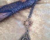 Lovegood Deathly Hallows Inspired Necklace Bronze Flower Bead Dumbledore Elder Wand Harry Potter