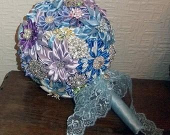 Blue Kanzashi Flower and Brooch Bridal Wedding Bouquet
