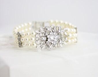 Pearl Bracelet Wedding Bridal Bracelet Pearl cuff Leaf Wedding Bracelet Pearl Bridal Bracelet  White Ivory Pearl wedding Jewellery GENOA