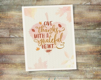 Give Thanks with a Grateful Heart Typography