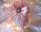 Shabby Chic Pink and White Vintage Doily Glass Ball Christmas Ornaments Vintage Chic Shabby Shabby Chic Home Decor Christmas