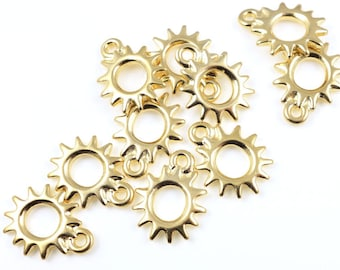 Bright Gold Charms TierraCast Charms RADIANT SUN Charms Gold Sun Charms for Winter Solstice Jewelry Making 14mm x 11mm Charms  (P98)