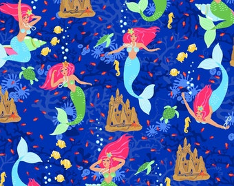 Mermaids Blue Beautiful Briny Sea Exclusively Quilters Fabric 1 yard