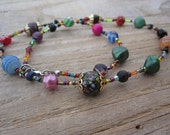 Upcycled Boho Bead Necklace - Bright Multicolored - OOAK