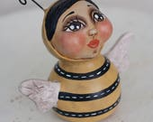 Sweet Hand-Sculpted Spotted Anthropomorphic Bumble Bee Folk Art Doll with Wings Antennae - OOAK Whimsical Artist Signed Collectible