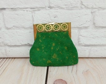 Vintage Gold Filigree Green Velvet Change Coin Purse