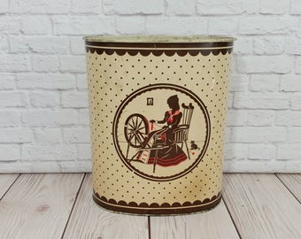 Vintage Metal Victorian Lady Spinning Weibro Trash Can Waste Basket