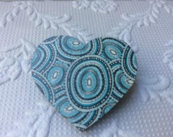 Aqua Black and White Concentric Circle Print Heart Brooch