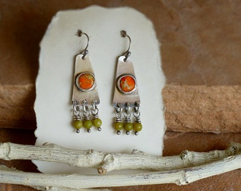 Orange Sea Sediment Jasper & Sterling Silver Earrings with Olive Jade Dangles . Rustic Southwest Boho Tribal Style Jewelry