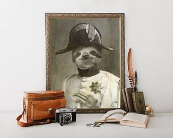 Cute Sloth, Sloth Art Print, Sloth Gift for Girls, Sloth, Artwork, Print, Prints, Wall Art, Nursery Sloth Print, Creepy Cute, Funny Bathroom
