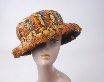 Limpasse wool feather hat | vintage feather hat | vintage 90s hat