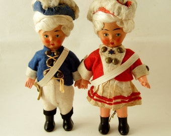 Vintage 4th of July American Dolls - 1950s Cute Boy and Girl Patriotic Dolls in Revolutionary War Uniforms
