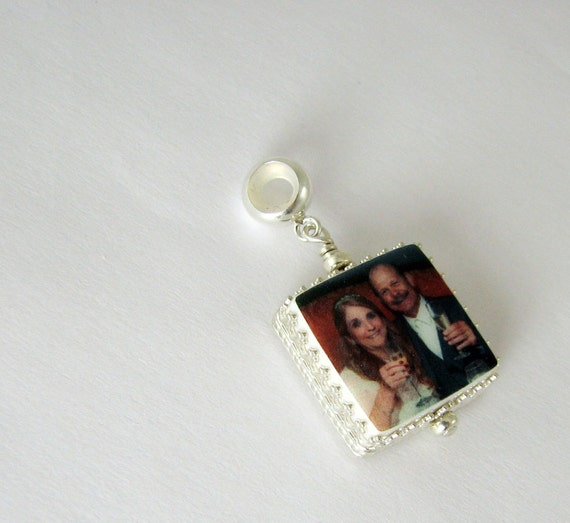 Photo Charm, Large Hole Charm for your name brand bracelet - XSM - FC5Cf