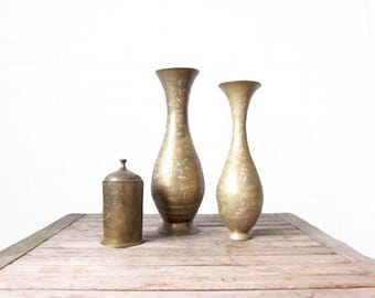 Vintage Brass Vases - Gold Etched Indian Style Vessels - Pair of Vases and Canister with Lid - Set of Indian Brass Jugs - Instant Collection