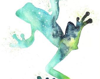 Frog ORIGINAL Watercolor, Galaxy Spirit Totem Animal 9X12