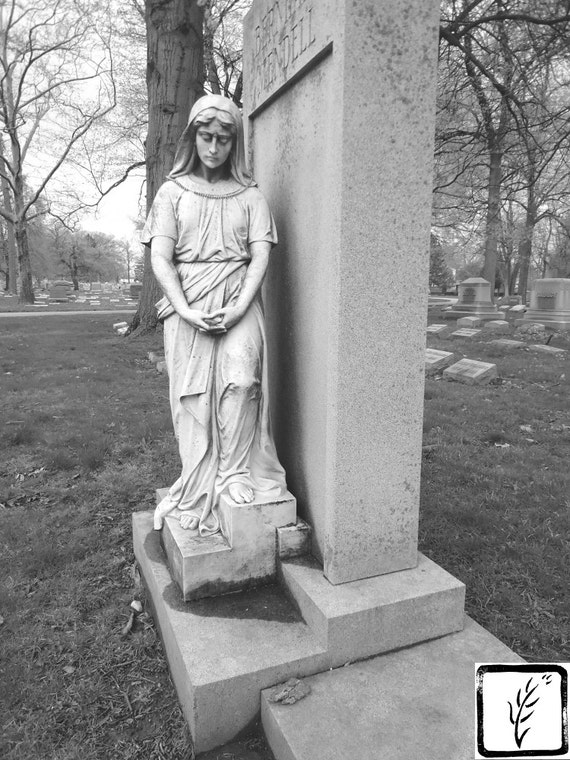 B&W Photograph, fine art, photo print, home decor, cemetery, Mary, Christian, sculpture, carved stone, memorial, Indianapolis, Indiana