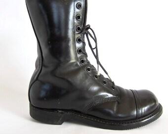 vintage 1970s 1980s black leather CAROLINA combat boots MOTORCYCLE work wear soft cap toe mens 7 1/2 8 U S A womens 9 punk biker goth street