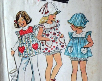 Vintage 70's Simplicity 6366 Sewing Pattern, Child's/Girls' Top, Hat And Panties, Size 2, 21 Breast, Retro 1970's Pattern