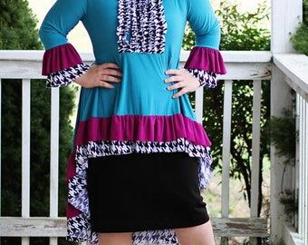 LillyAnnaLadiesApparel AVERY Hi Low Shirt Lala Modest