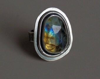 Labradorite ring / rose cut labradorite ring / labradorite jewelry / faceted labradorite ring / rainbow gem / size 7 ring / ready to ship