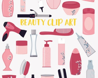 Beauty clip art set, styling products for hair, body and bath, clipart symbols (LC05)