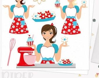 Baking woman character clipart, bake sugar cookies, cupcakes, mixer girl, retro red baker, blonde, brunette and auburn hair (Piper L173)