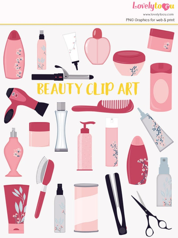 Beauty Clip Art Set Styling Products For Hair Body And Bath Clipart Symbols LC05 From Lovelytocu On Etsy Studio