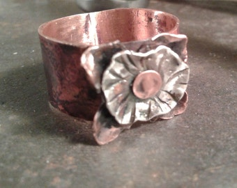 Copper and Sterling Spinner Ring- flower -wide- rustic- nature - movement- fidget -organic style
