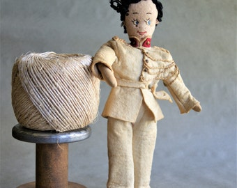 Vintage Felt Soldier Doll in Uniform with Yarn Hair Aged and Yellowed Cloth Covered Wire From Little Boys Room Decor