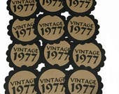 40th Birthday Favor Tags, Vintage 1977, Set of 12, Black and Kraft Brown or Your Choice of Colors