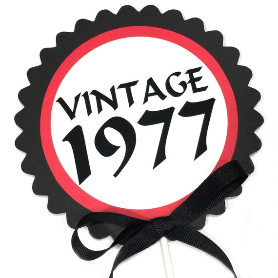 40th Birthday Decoration Vintage 1977 Cake Topper Candy Pick