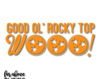 Good Ol' Rocky Top Wooo! TN Tri-star - SVG, EPS, dxf, png, jpg digital cut file for Silhouette or Cricut Tennessee