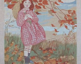 A Needlepoint Canvas Handpainted Theodora  Little Girl Fall Leaves