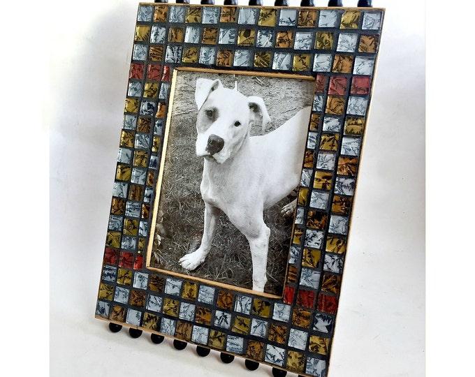 Iridescent Glass Mosaic Frame, Black Silver Gold Mosaic Frame, Black Check Glass Mosaic Photo Frame, Embellished Frame, 5 x 7  Mosaic Frame