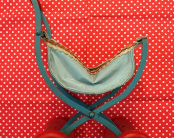 Vintage Japan Blue Wooden and Metal Carriage Stroller Doll Size