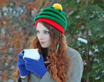 Fun Christmas Tree Hat Red and Green with Yellow Pom Pom  Beanie Hat  Knit Handmade Gift for him or her or Kids