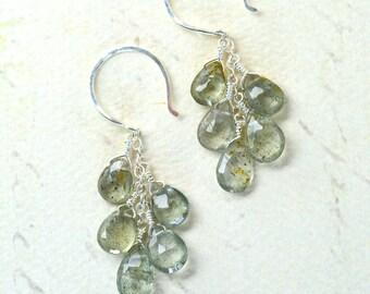 Cascades Earrings - moss aquamarine cluster earrings, aquamarine dangle earrings, march birthstone aquamarine earrings