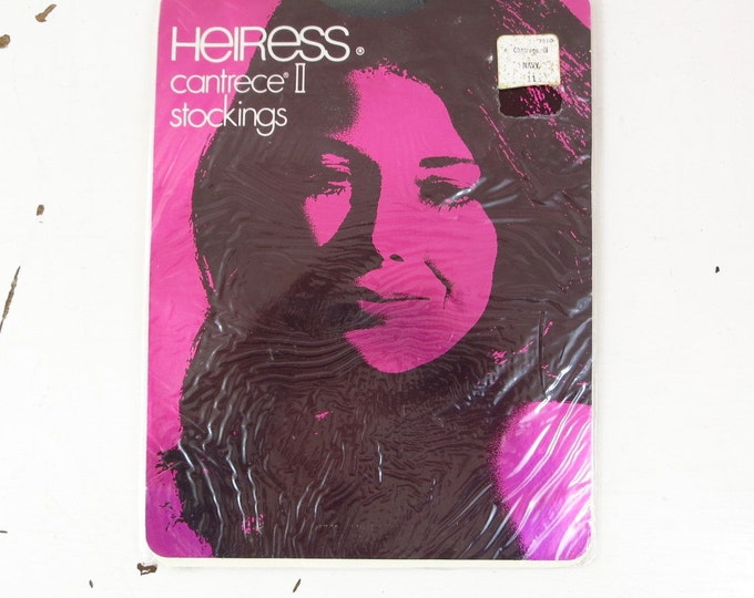 Vintage Nylon Stockings - 1970s Coffee Heiress Stretch Nylon Stockings Size 10.5 (Large)