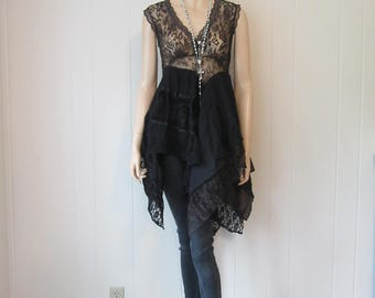 Boho Gypsy Black Brown Lace Dress Tunic Flowing Ruffled Vintage Eco-Chic Size S - M