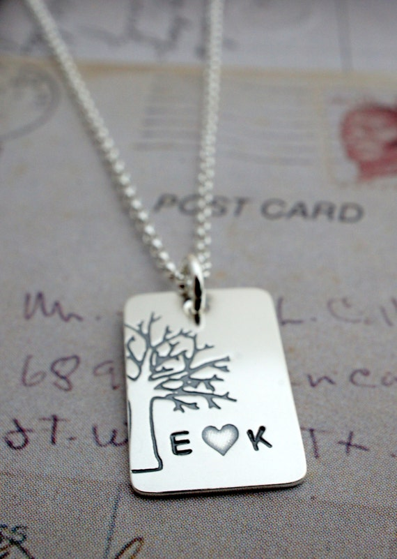 Personalized Family Tree Necklace - Under the Oak Tree Pendant - Custom Hand Stamped Couples Initials Tree of Life Charm by EWD