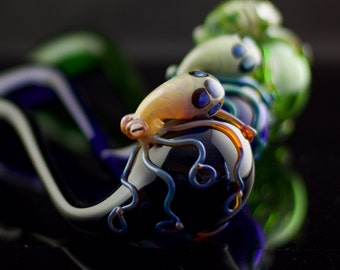 Octopus Glass Sherlock Pipe Hand Blown Thick Wall in YOU CHOOSE the COLOR, Made to Order