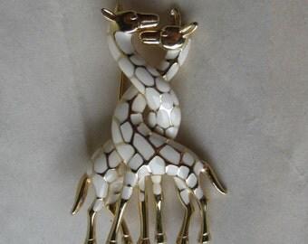 Two Giraffes White Gold Brooch Enamel Vintage Pin