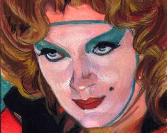 Susan Sarandon Portrait Rocky Horror Themed ACEO Gouache Original Painting Framed Art Card, Dammit Janet - shockeyrotica