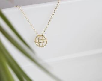 Sphere 3D Geometric Charm Necklace | ATL-N-185